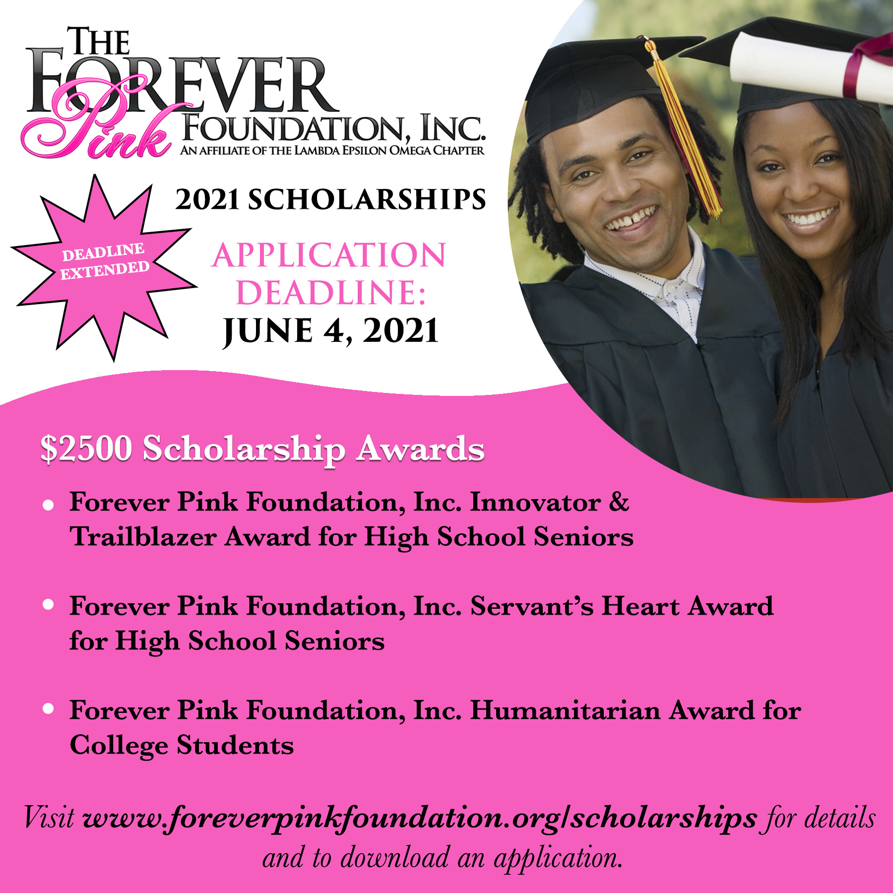 2021 Forever Pink Foundation, Inc.  Scholarship Applications Now Open